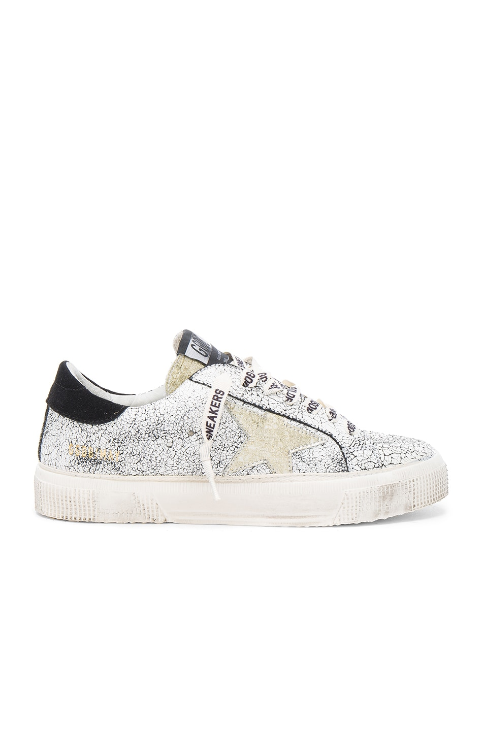 Image 1 of Golden Goose Suede May Sneakers in White Crack & Gold