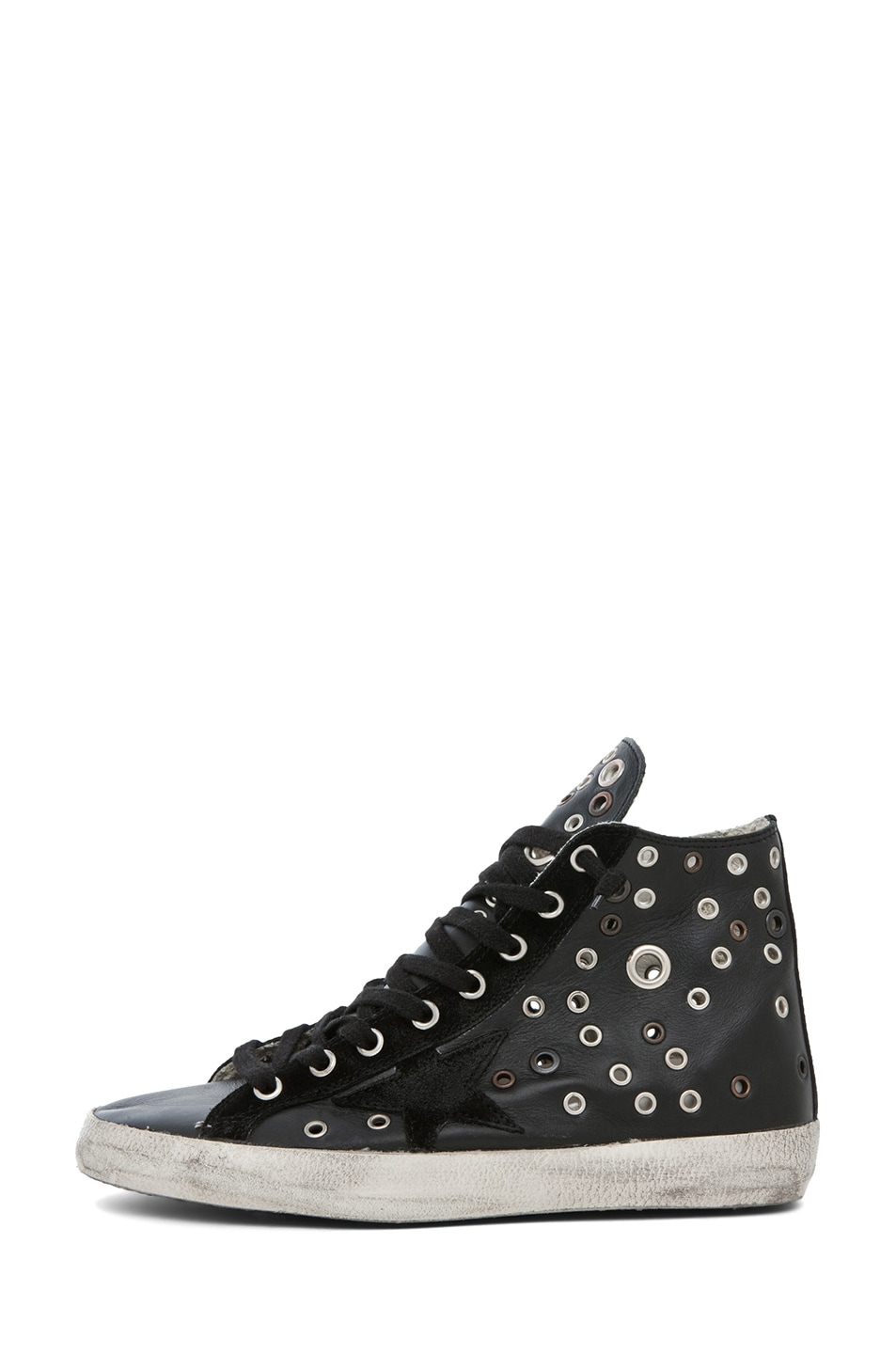 Image 1 of Golden Goose Francy Leather High Top Sneaker in Black Grommet