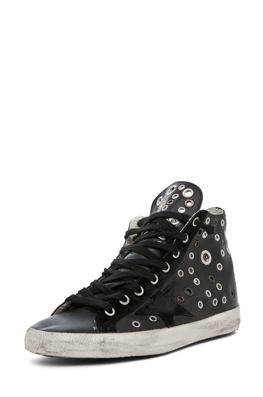 Image 2 of Golden Goose Francy Leather High Top Sneaker in Black Grommet