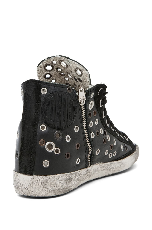 Image 3 of Golden Goose Francy Leather High Top Sneaker in Black Grommet