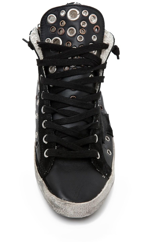 Image 4 of Golden Goose Francy Leather High Top Sneaker in Black Grommet