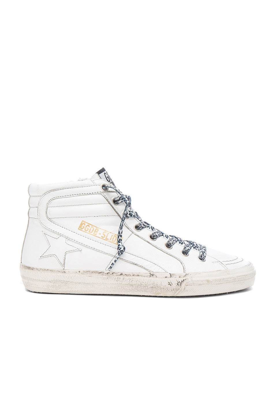 Image 1 of Golden Goose Leather Slide Sneakers in White & Grey