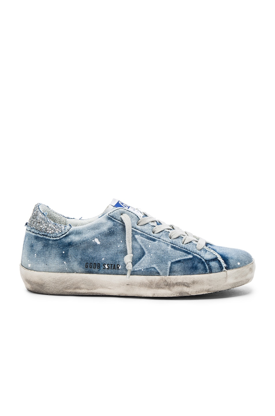 4f09820533e1e Image 1 of Golden Goose Denim Superstar Low Sneakers in Bleached