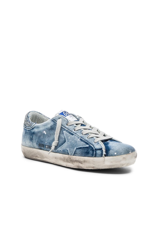 6784d6dcb53d8 Image 2 of Golden Goose Denim Superstar Low Sneakers in Bleached