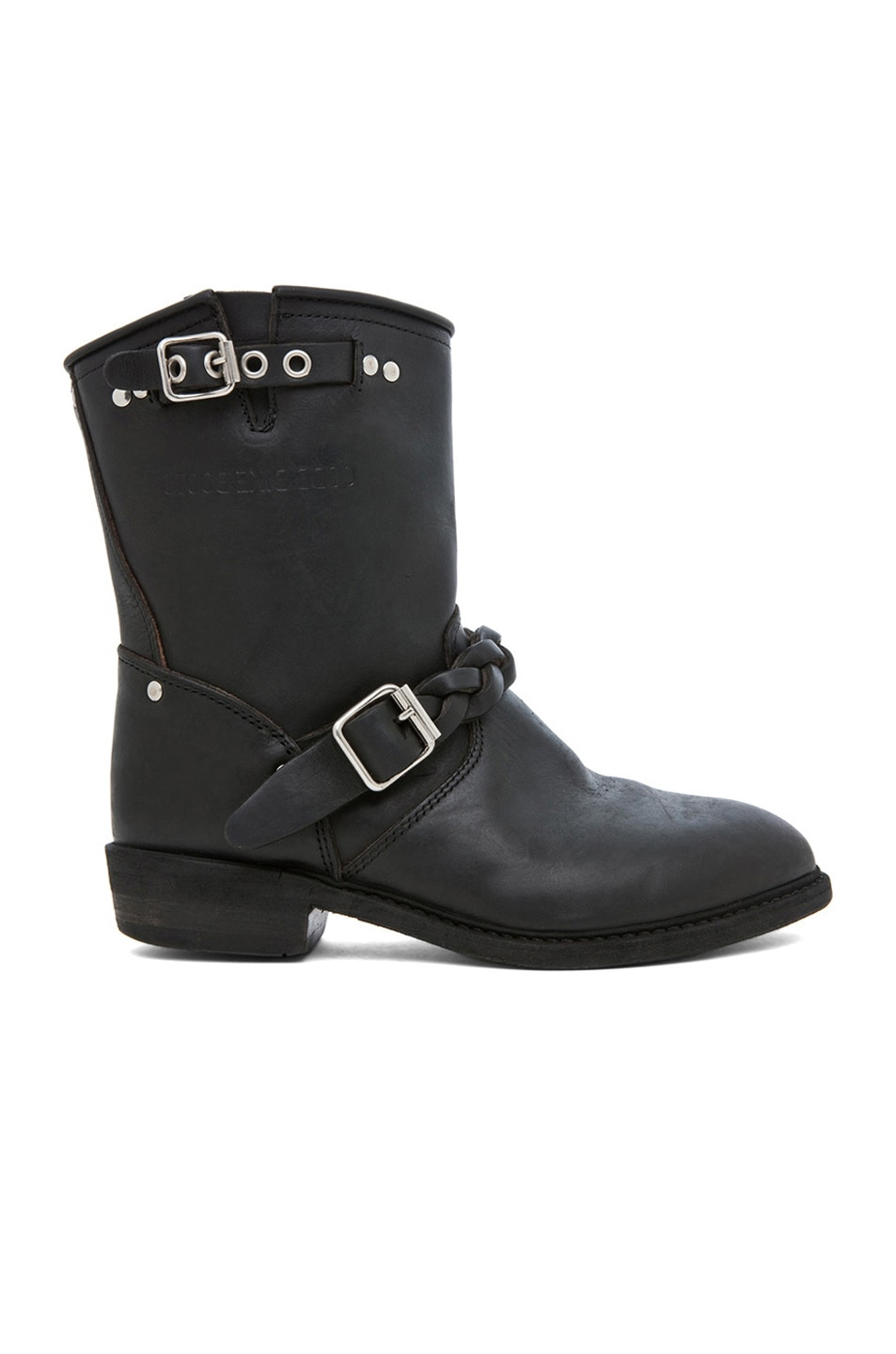 Image 1 of Golden Goose Leather Short Biker Boots in Black Stud