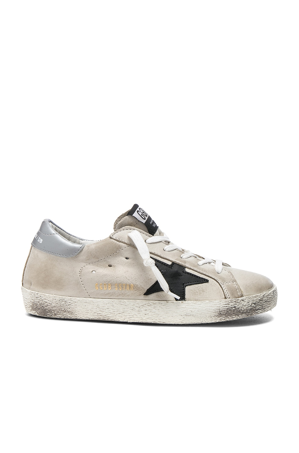 Image 1 of Golden Goose Leather Superstar Low Sneakers in Cream & Black