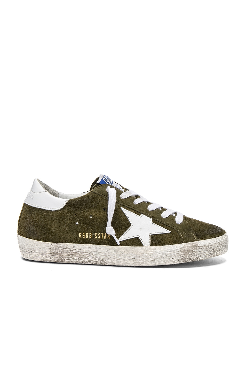 Image 1 of Golden Goose Suede Superstar Low Sneakers in Olive Green & White