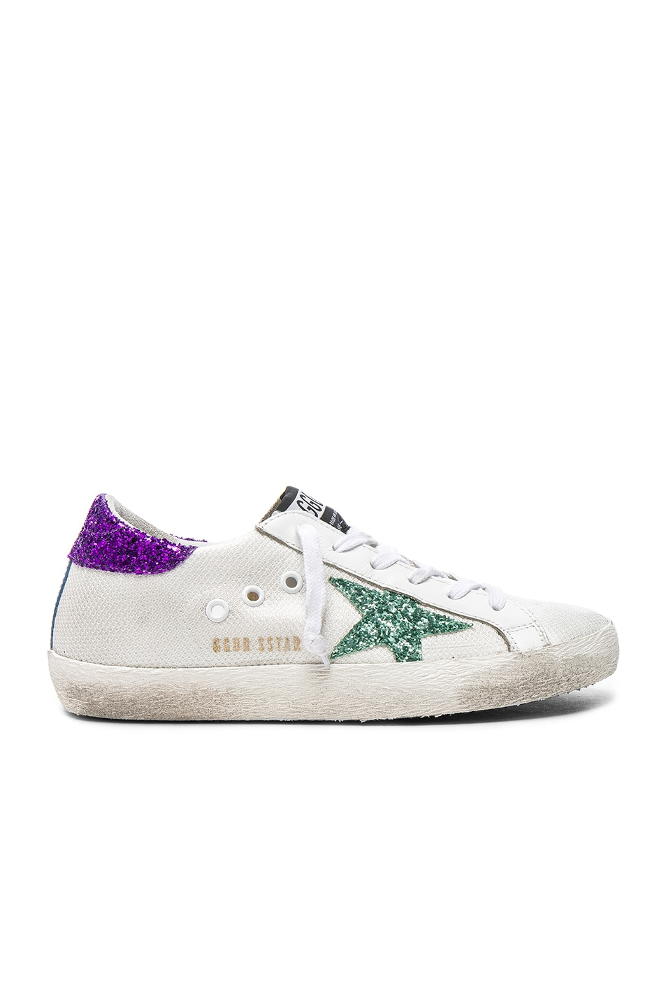 Image 1 of Golden Goose Mesh Superstar Low Sneakers in White & Aquamarine