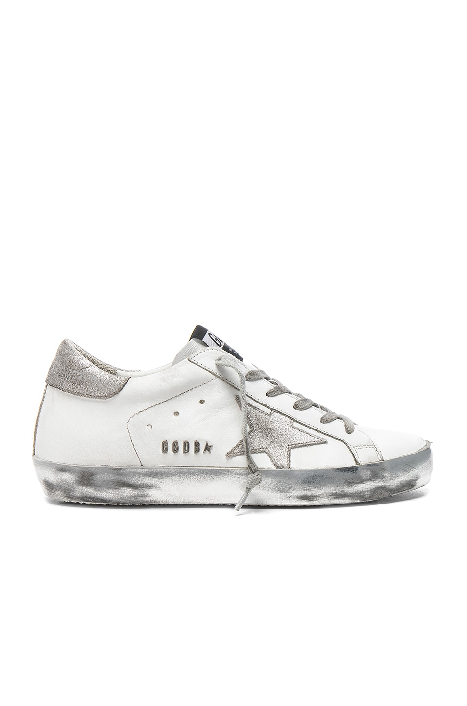 Image 1 of Golden Goose Leather Superstar Low Sneakers in Sparkle White & Silver