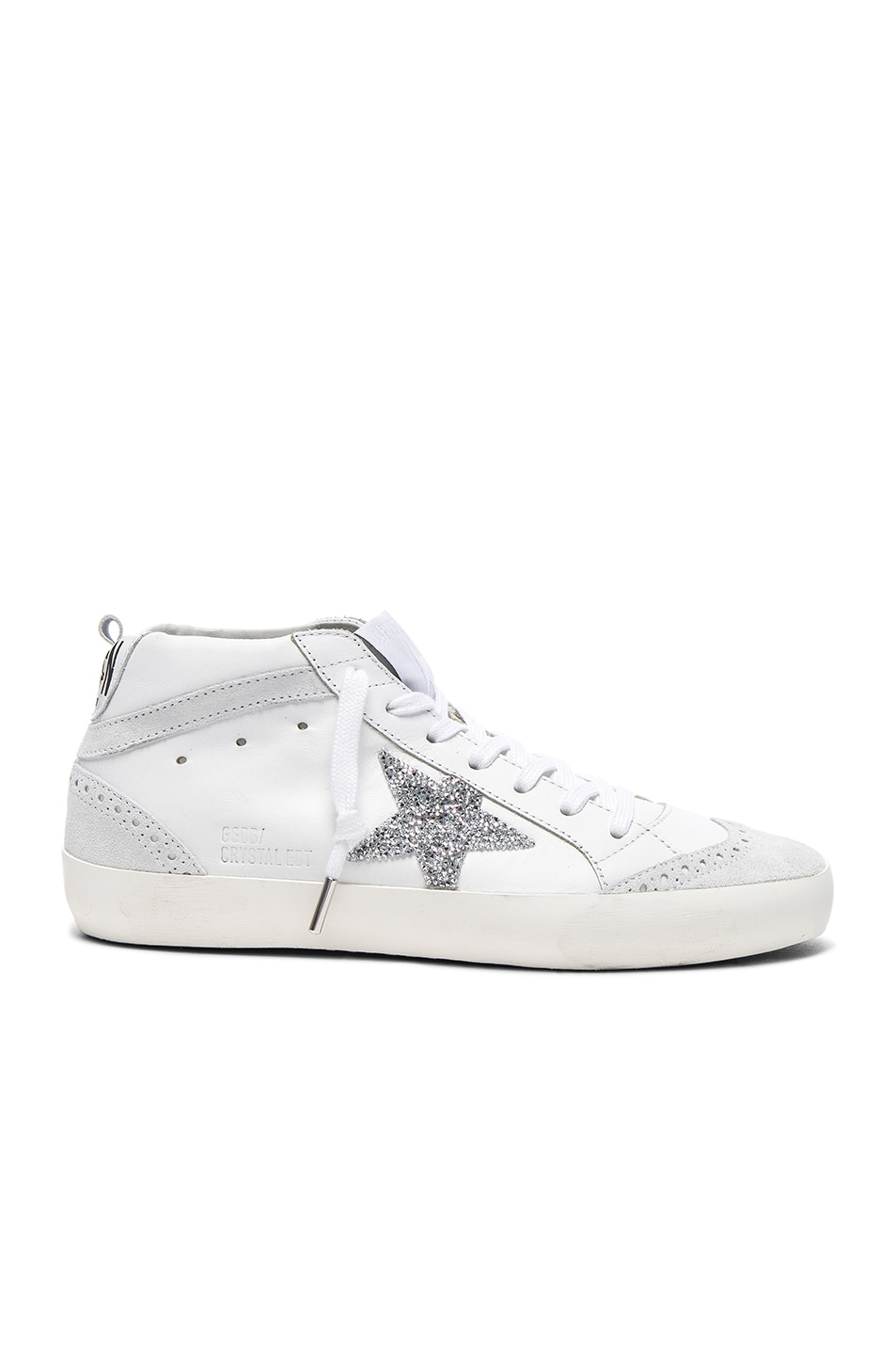 Image 1 of Golden Goose Swarovski Crystal Embellished Mid Star Sneakers in White & Crystals