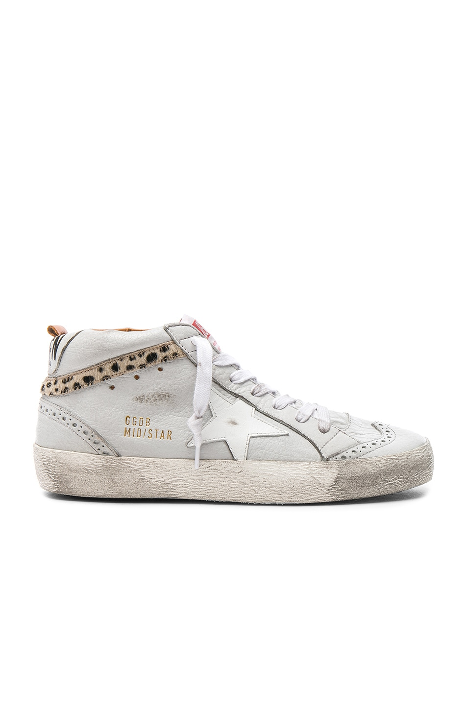 Image 1 of Golden Goose Leather Mid Star Sneakers With Cow Hair in Ice & Leo