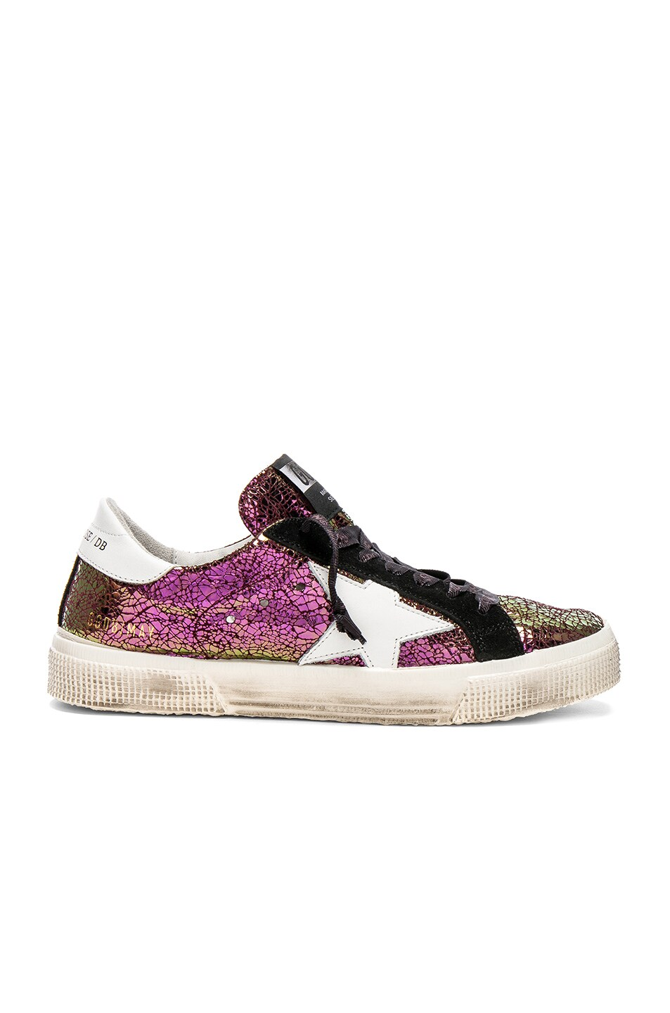 Image 1 of Golden Goose Cracked Iridescent May Sneakers in Iridescent Burgundy & White Star
