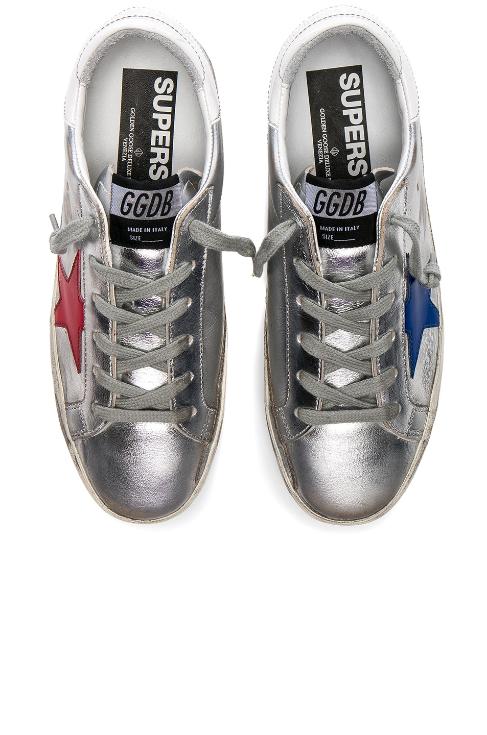 Image 1 of Golden Goose Leather Superstar Sneakers in Silver, Red & Blue Star