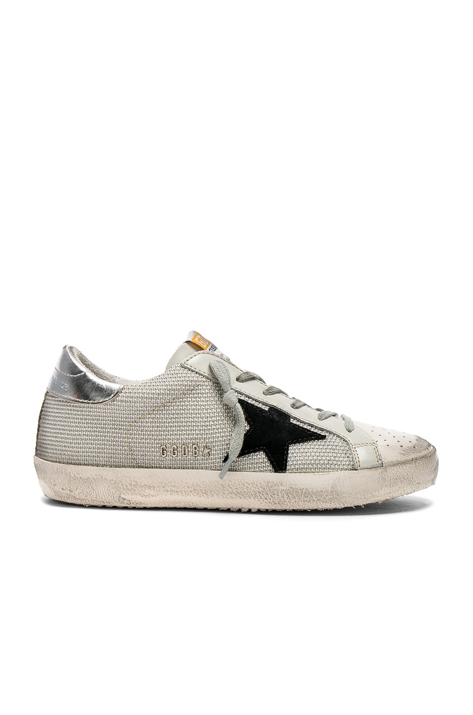 Image 1 of Golden Goose Superstar Sneakers in White Cord & Silver Lurex