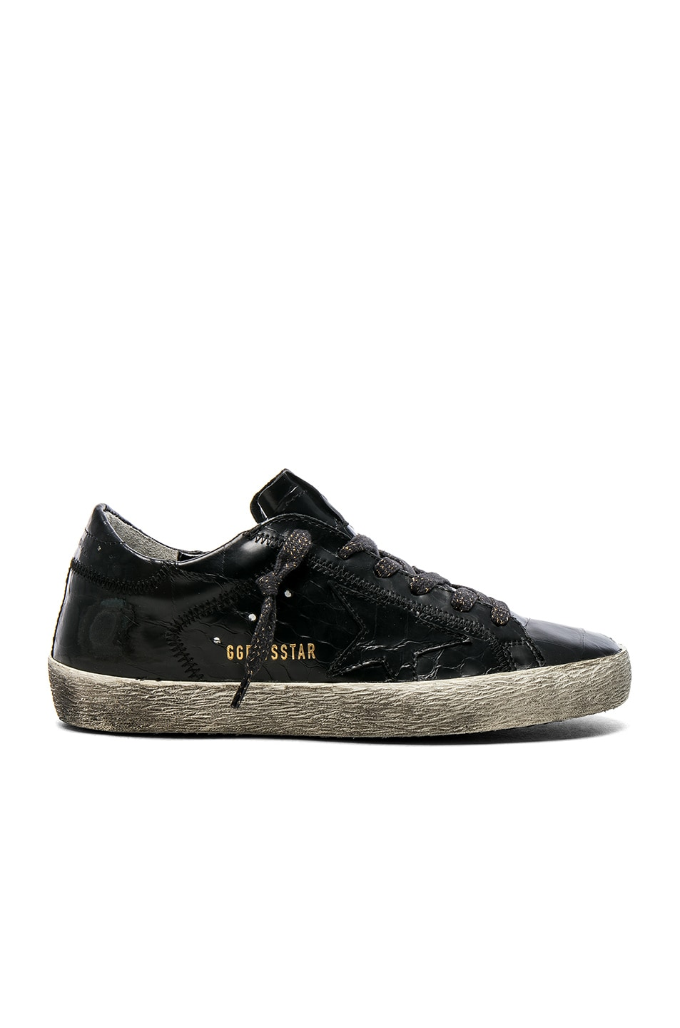 Image 1 of Golden Goose Croc Embossed Leather Superstar Sneakers in Black Cocco