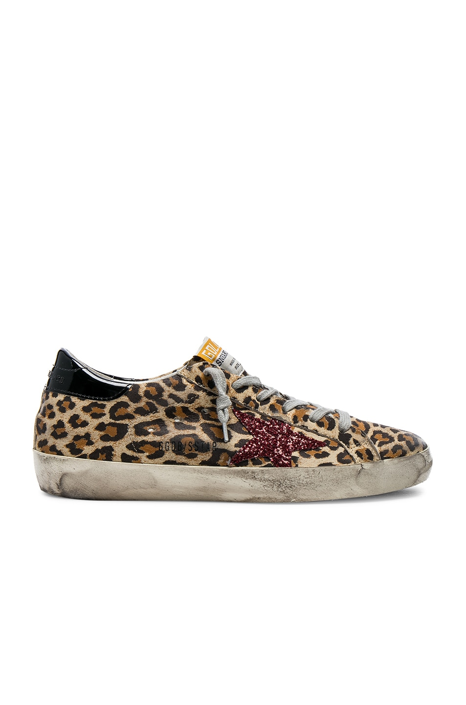 cdb7aa412dc31 Image 1 of Golden Goose Superstar Sneakers in Leopard Suede   Red Glitter  Star