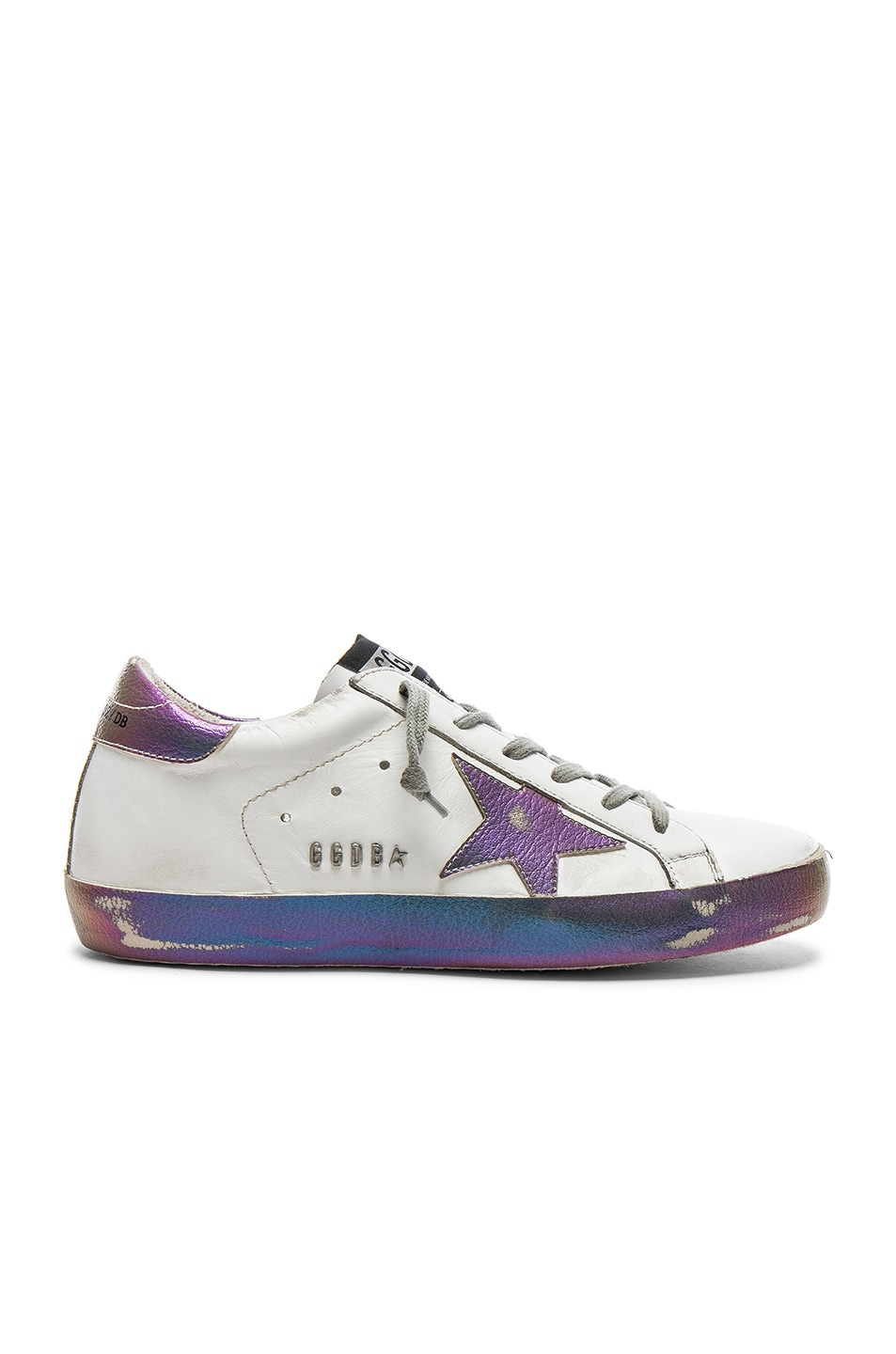 745590dbaaa9 Image 1 of Golden Goose Leather Superstar Sneakers in Sparkle White    Iridescent Star