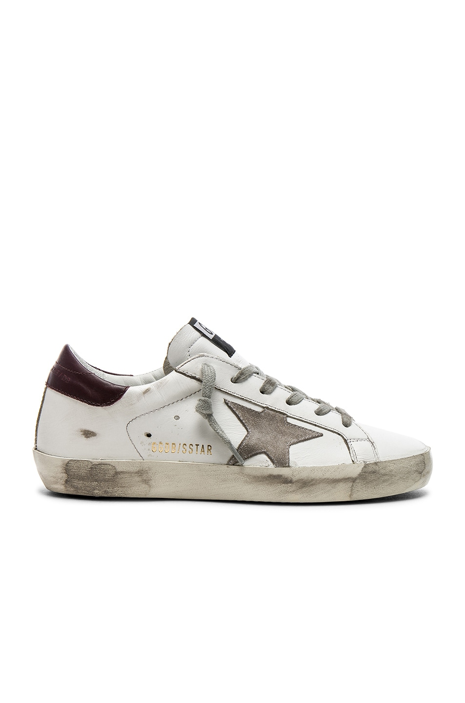 Image 1 of Golden Goose Leather Superstar Sneakers in White & Bordeaux