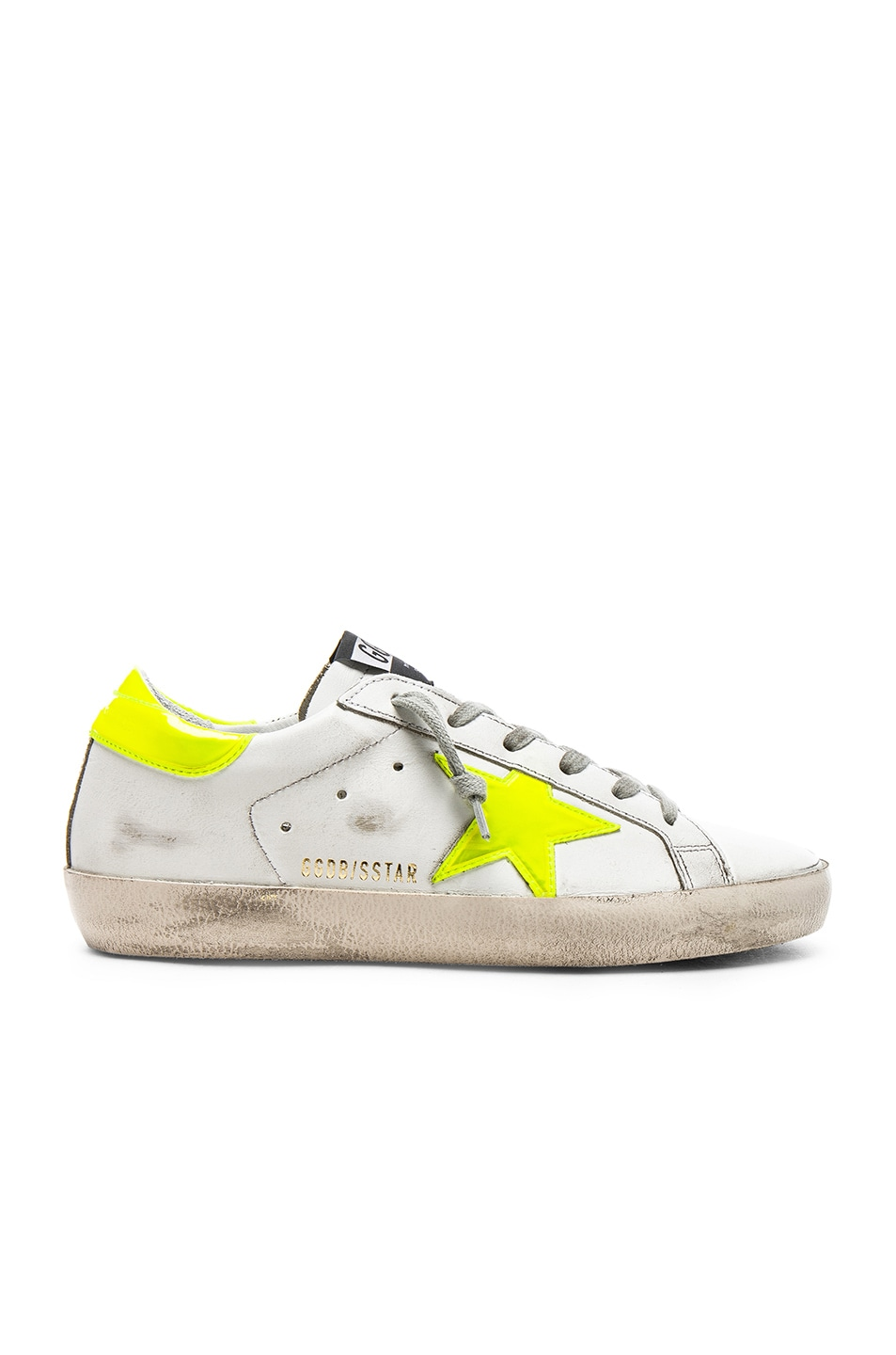Image 1 of Golden Goose Leather Superstar Sneakers in White & Yellow Fluo Star