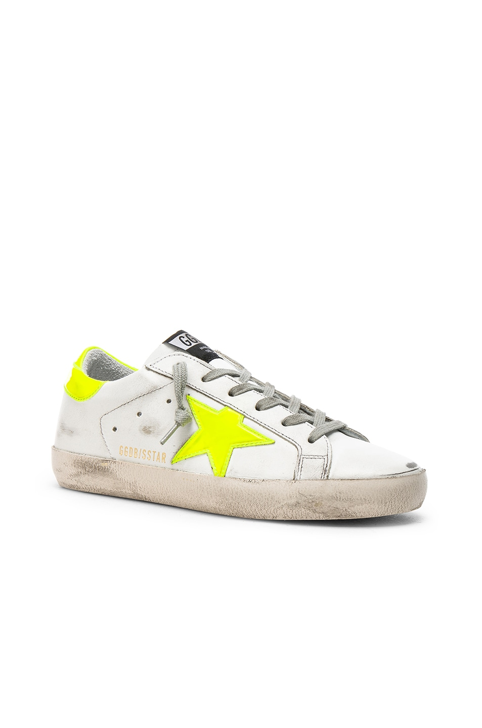 4bcf9900fb Golden Goose Leather Superstar Sneakers in White & Yellow Fluo Star ...