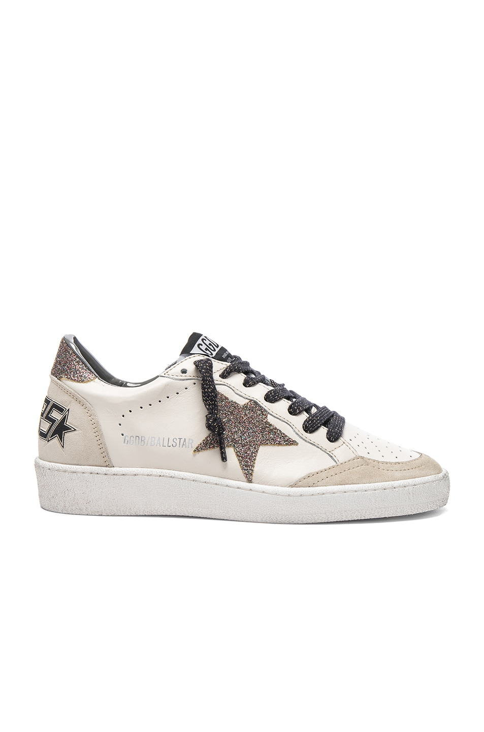 Image 1 of Golden Goose Leather Ball Star Sneakers in Cream & Multi Glitter Star