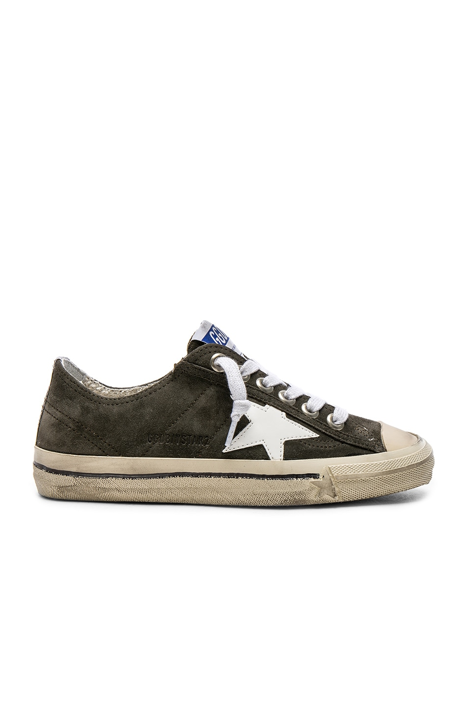 Image 1 of Golden Goose Suede V Star 2 Sneakers in Military Green   White  Patent d2aed544cf6d