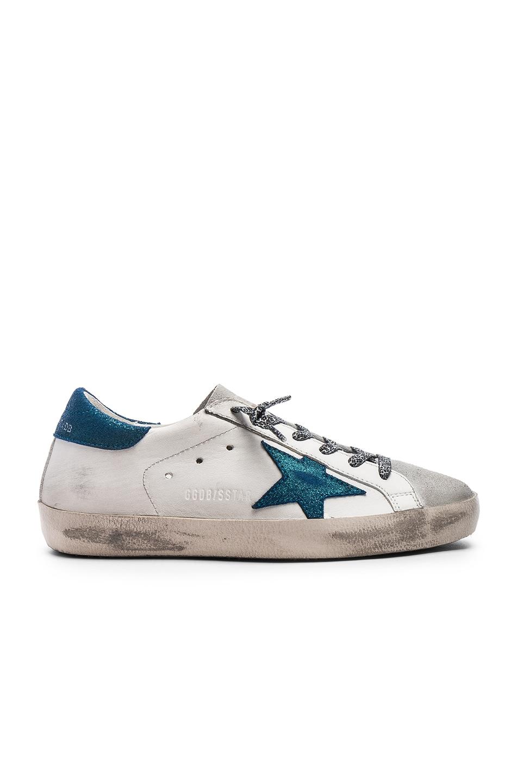 23003683345 Image 1 of Golden Goose Superstar Sneakers in White & Metal Blue