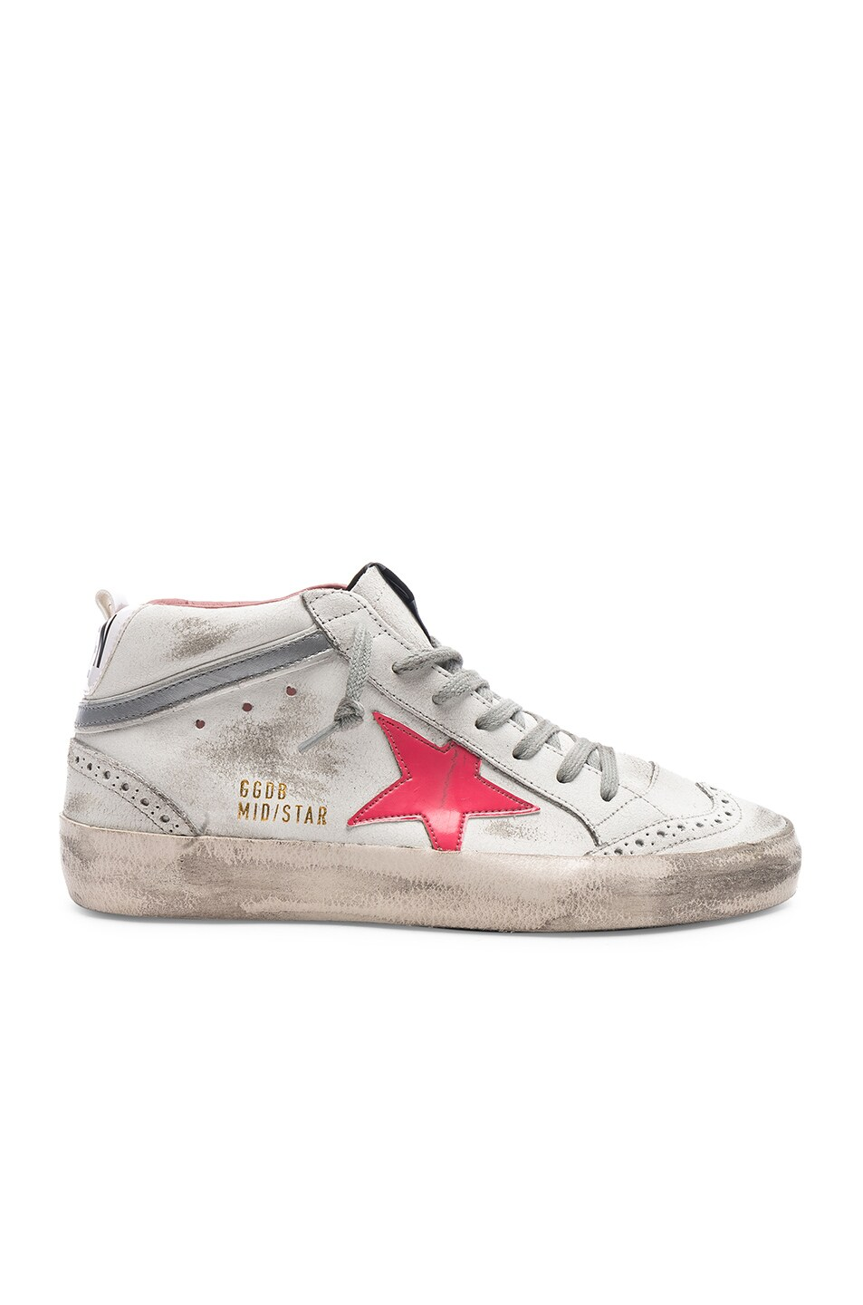 bccbc32f22af Image 1 of Golden Goose Mid Star Sneakers in White   Patent Pink