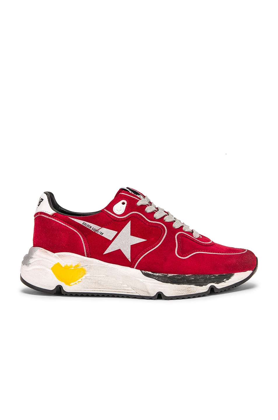 Image 1 of Golden Goose Running Sole Sneakers in Red Suede & Silver Star