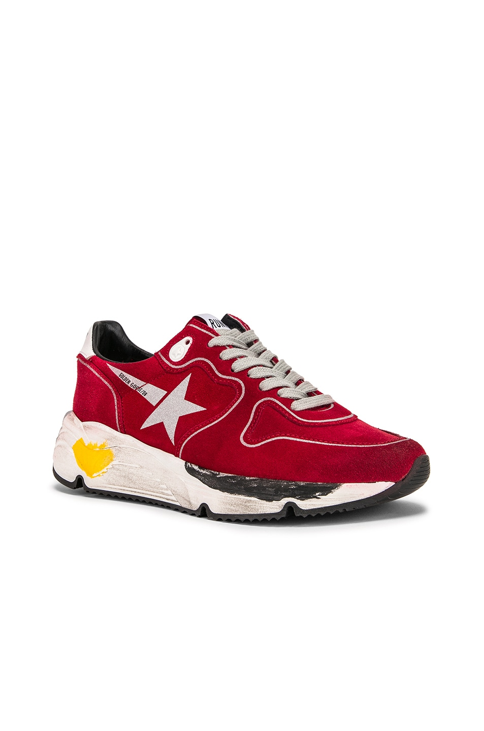 Image 2 of Golden Goose Running Sole Sneakers in Red Suede & Silver Star