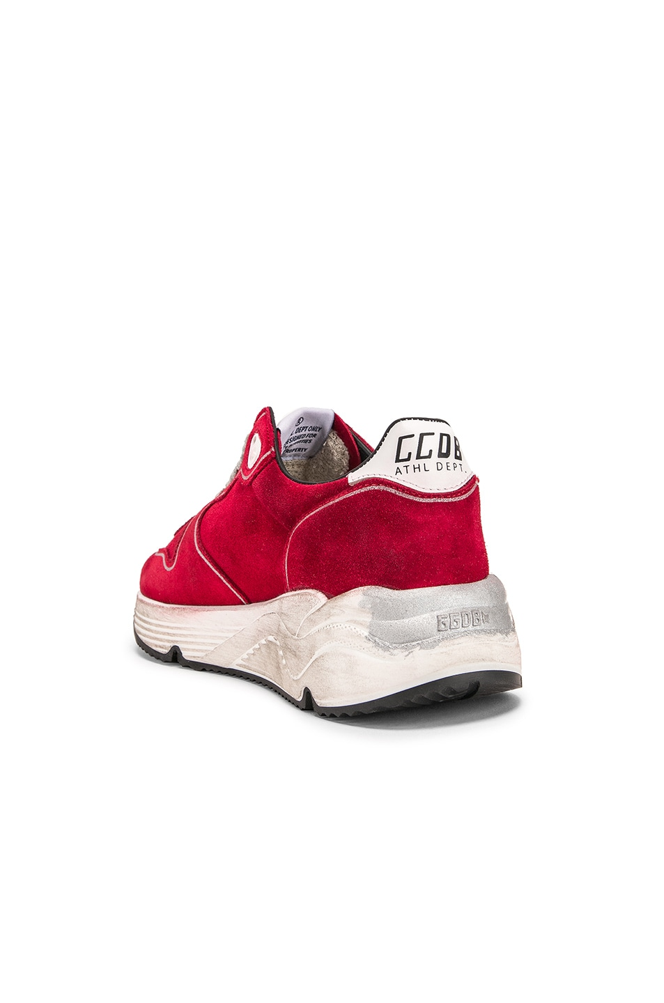 Image 3 of Golden Goose Running Sole Sneakers in Red Suede & Silver Star