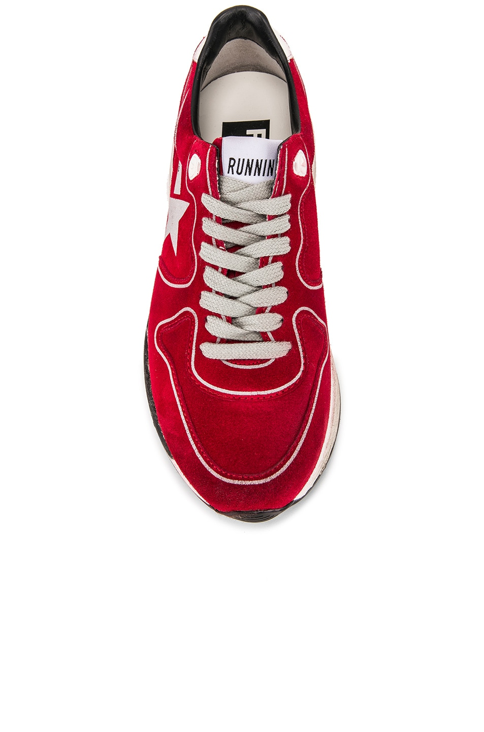 Image 4 of Golden Goose Running Sole Sneakers in Red Suede & Silver Star