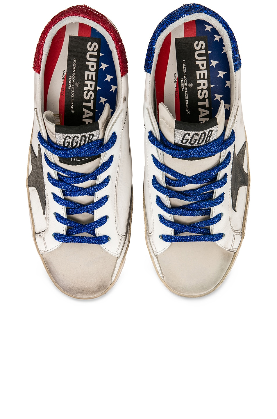 Image 1 of Golden Goose Bluette Laces Superstar Sneakers in White American Flag