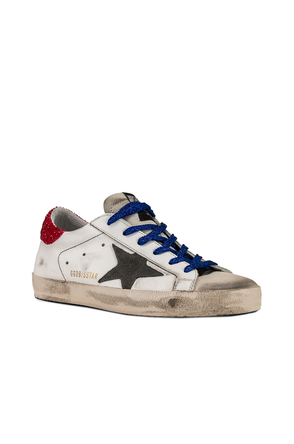 Image 3 of Golden Goose Bluette Laces Superstar Sneakers in White American Flag