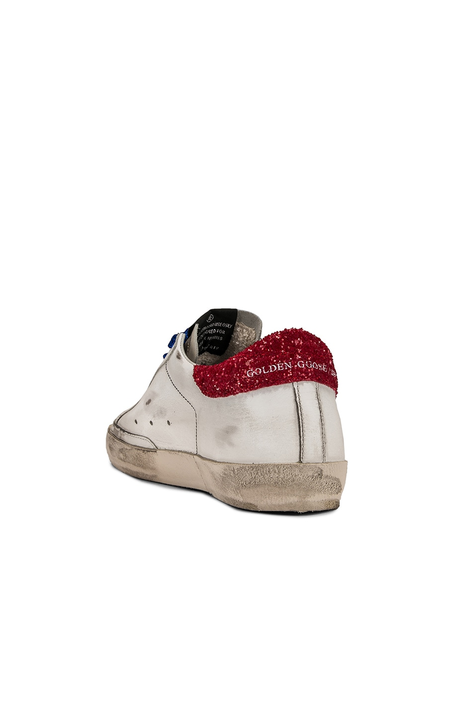 Image 4 of Golden Goose Bluette Laces Superstar Sneakers in White American Flag