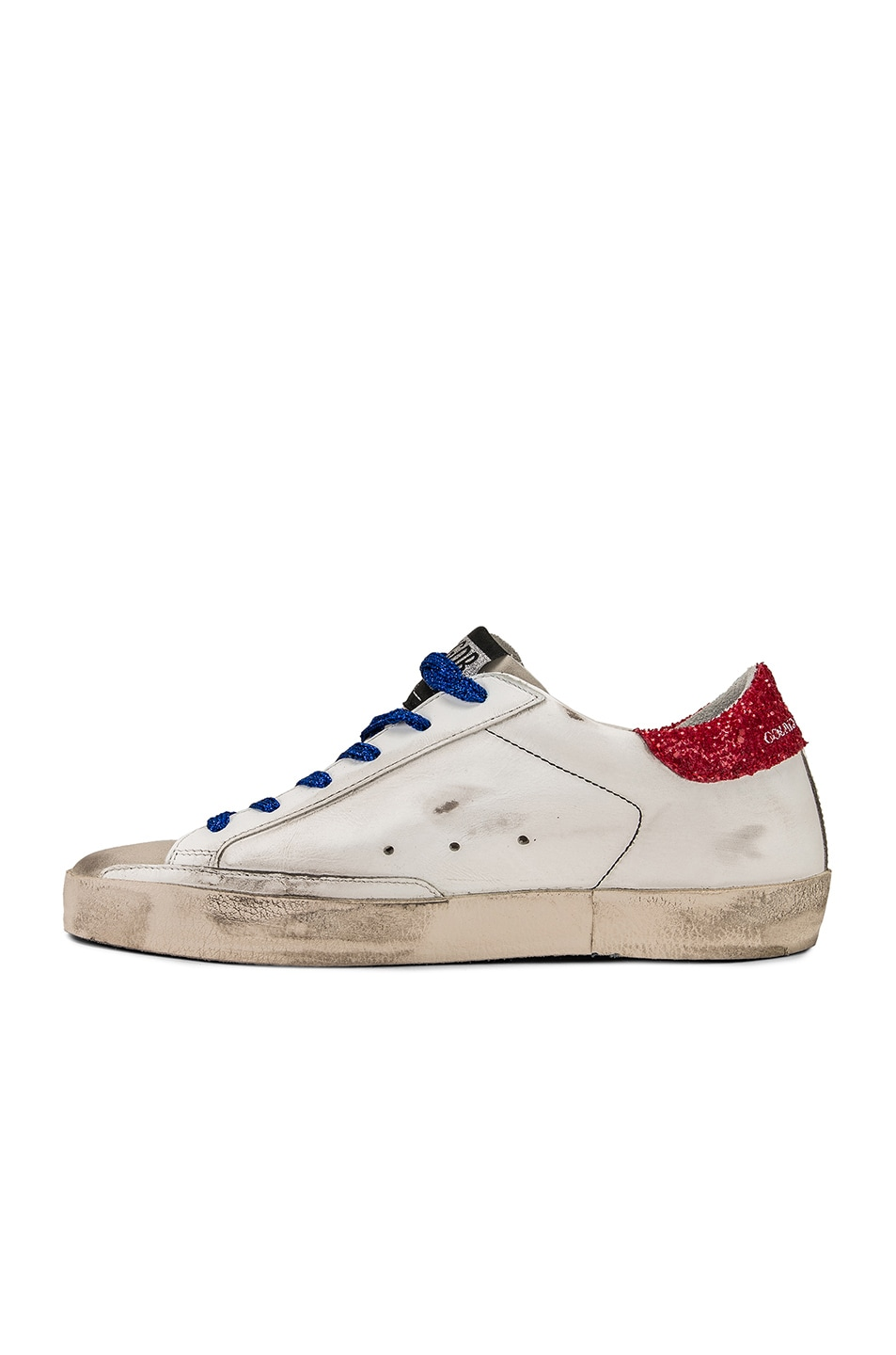 Image 5 of Golden Goose Bluette Laces Superstar Sneakers in White American Flag