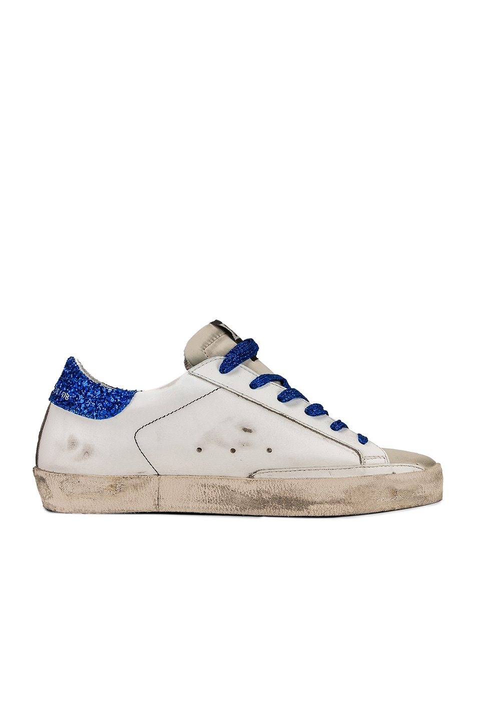 Image 7 of Golden Goose Bluette Laces Superstar Sneakers in White American Flag