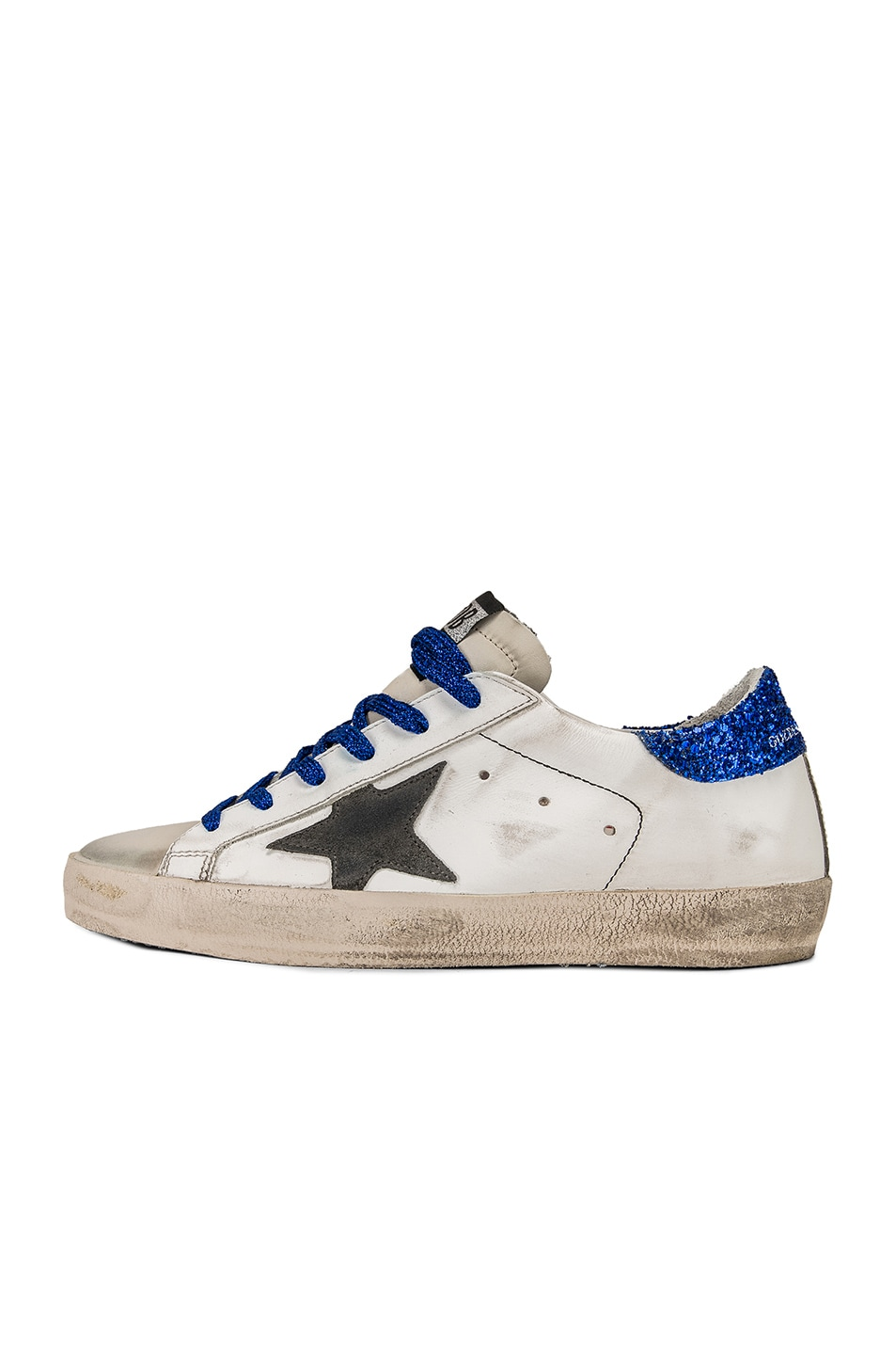 Image 8 of Golden Goose Bluette Laces Superstar Sneakers in White American Flag