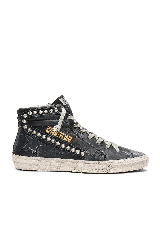 Image 1 of Golden Goose Slide Leather Sneaker in Black & Studs