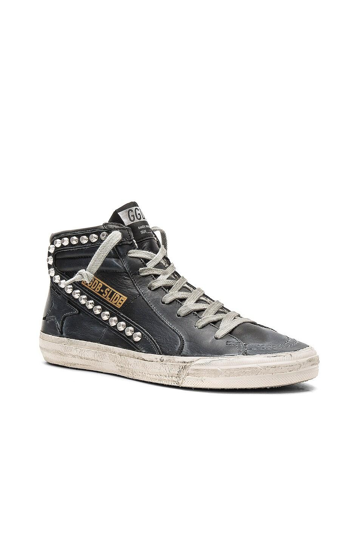 Image 2 of Golden Goose Slide Leather Sneaker in Black & Studs