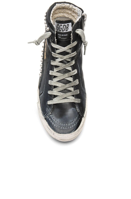 Image 4 of Golden Goose Slide Leather Sneaker in Black & Studs