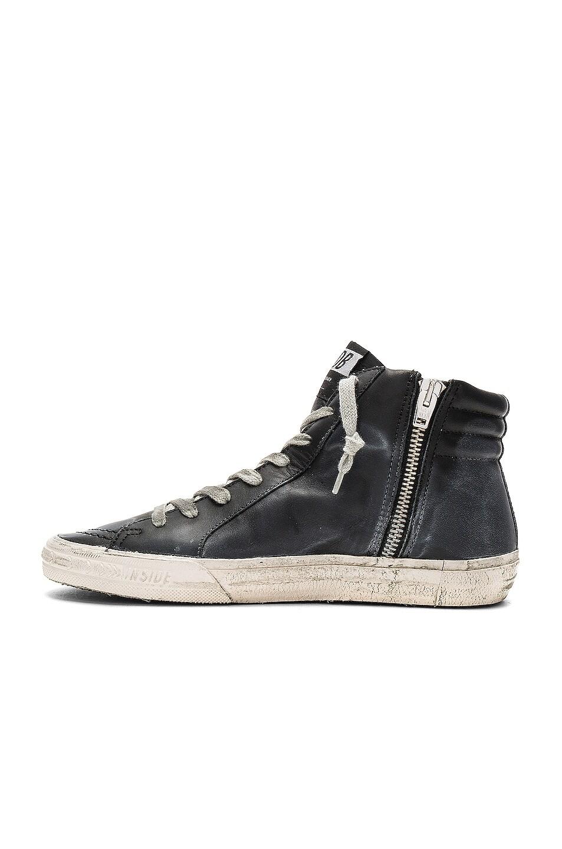 Image 5 of Golden Goose Slide Leather Sneaker in Black & Studs