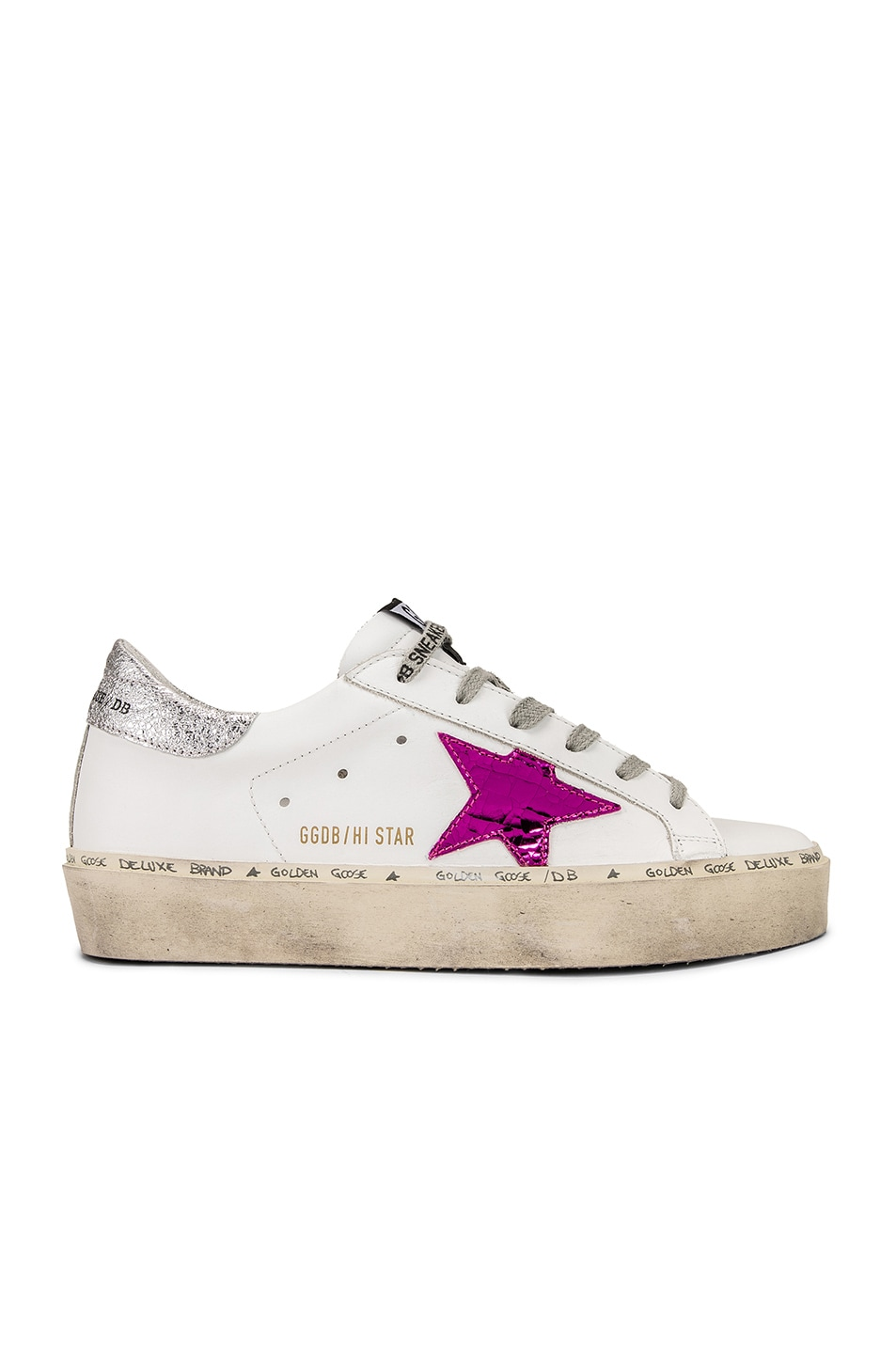 Image 2 of Golden Goose Hi Star Sneakers in White Leather & Silver Pink