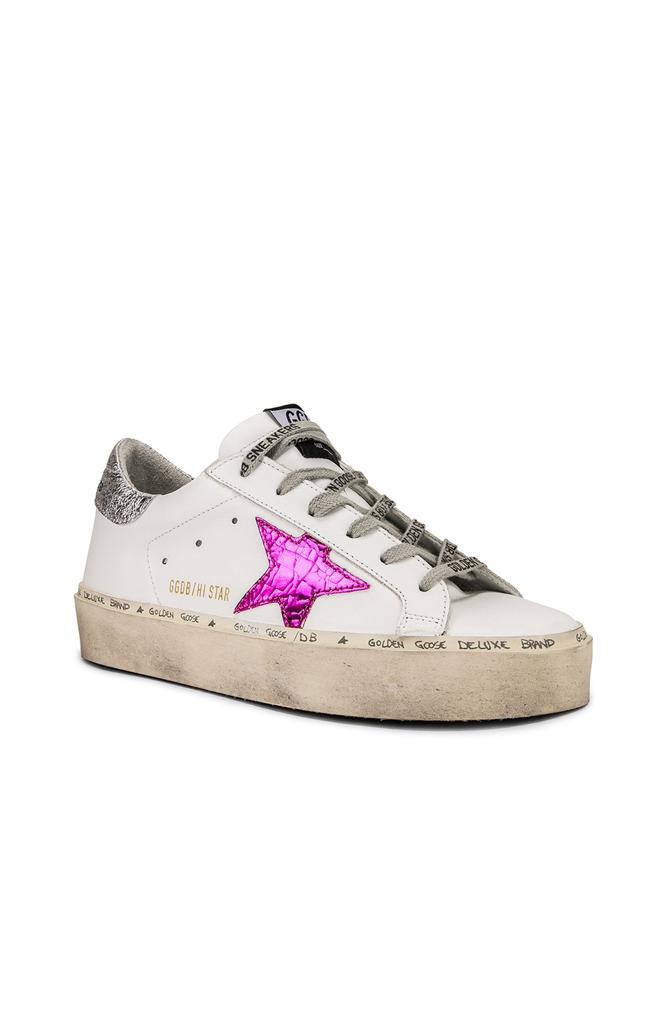 Image 3 of Golden Goose Hi Star Sneakers in White Leather & Silver Pink