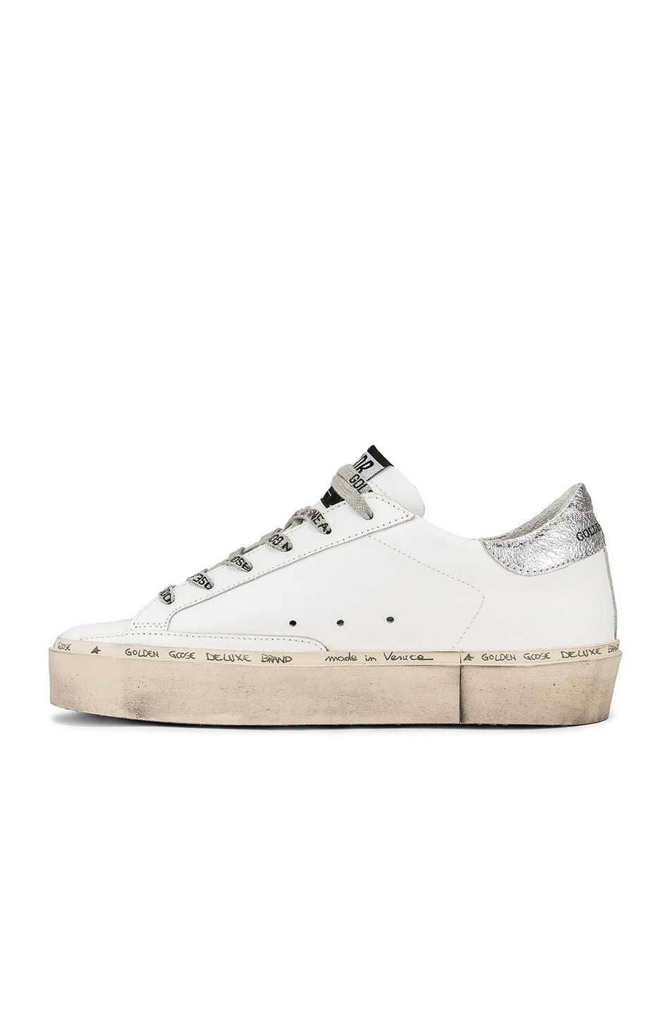 Image 5 of Golden Goose Hi Star Sneakers in White Leather & Silver Pink