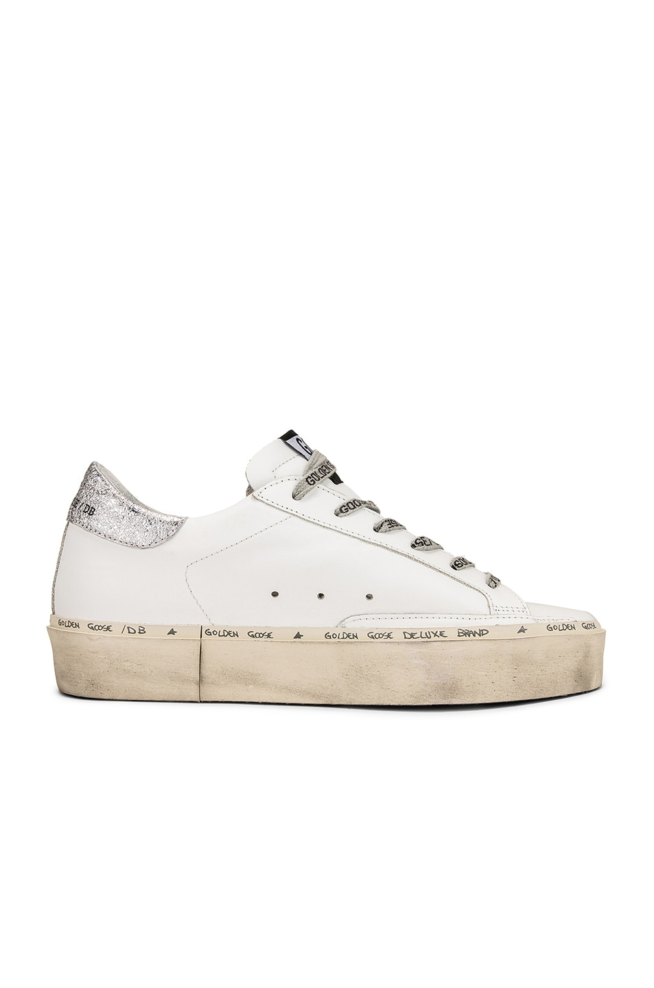 Image 7 of Golden Goose Hi Star Sneakers in White Leather & Silver Pink