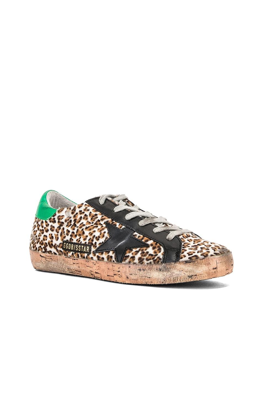 Image 2 of Golden Goose Cork Sole Superstar Sneakers in Leopard Pony