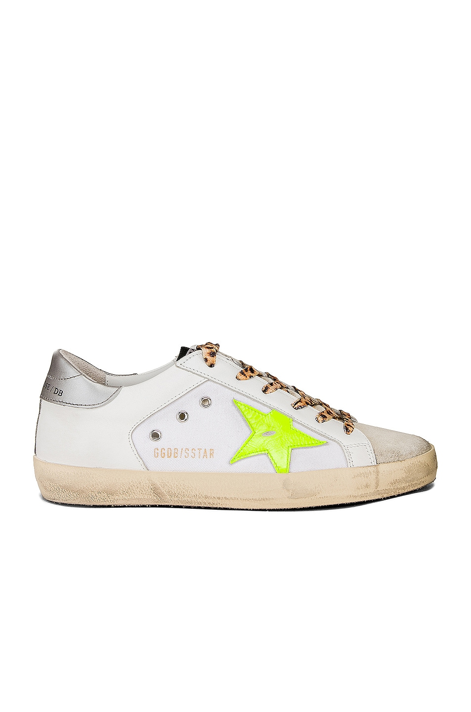 Image 1 of Golden Goose Leopard Lace Superstar Sneakers in White Canvas & Fluorescent