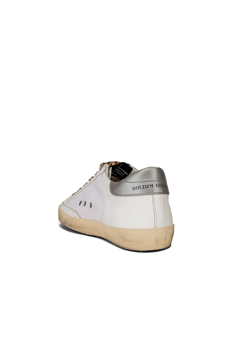 Image 3 of Golden Goose Leopard Lace Superstar Sneakers in White Canvas & Fluorescent