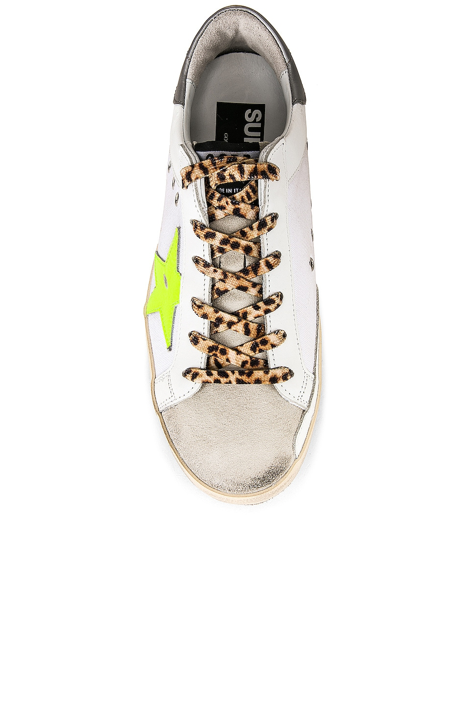 Image 4 of Golden Goose Leopard Lace Superstar Sneakers in White Canvas & Fluorescent